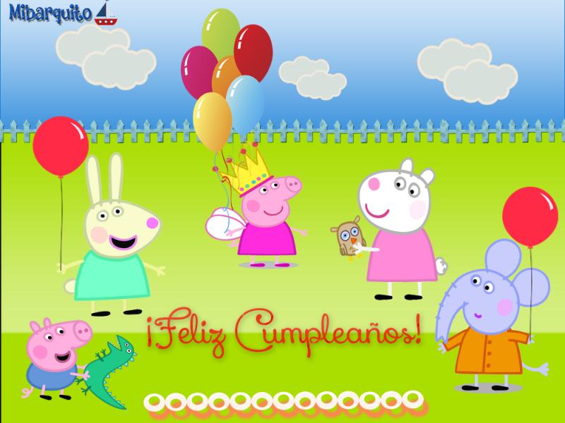 Imágenes de Peppa Pig y sus amigos para Cumpleaños