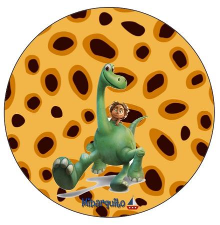 Topper stickers etiquetas redondas Un Gran Dinosaurio imprimibles