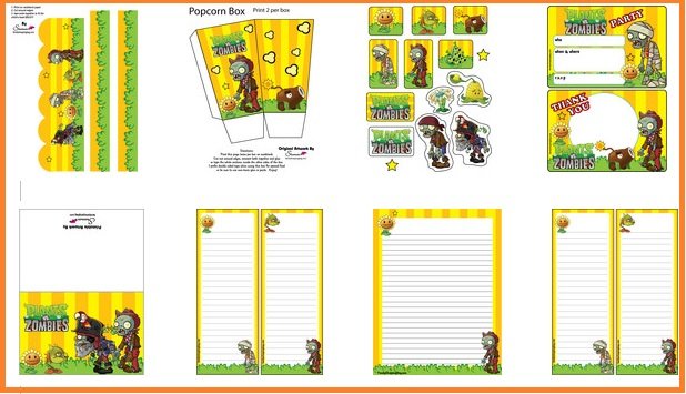 Imprimibles de Plantas vs zoombies decoracion de cumpleaños - kits de plantas vs zoombies para descargar gratis