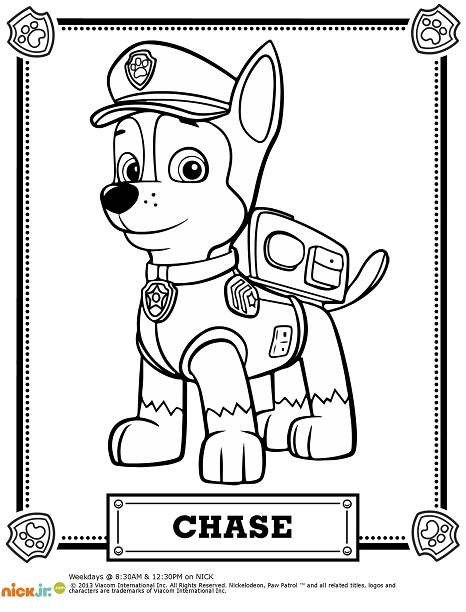 Paw Patrol Chase Pictures To Color Leslienorthcoloring