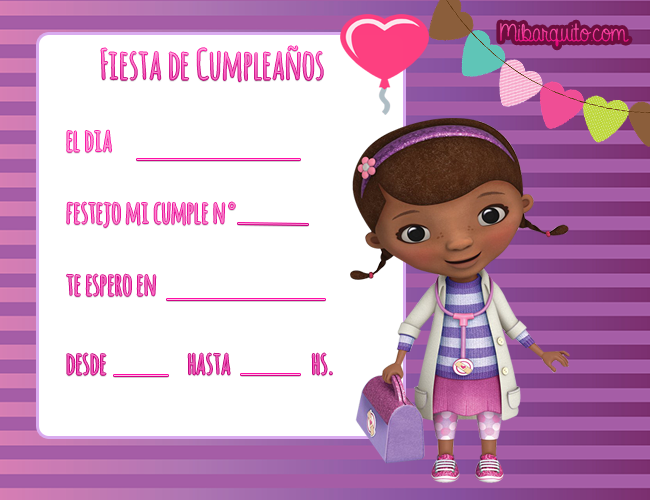 Doctora Juguetes tarjetitas cumple